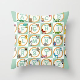 ABC alphabet for kids from A to Z. Set of funny cartoon animals character. zoo Throw Pillow