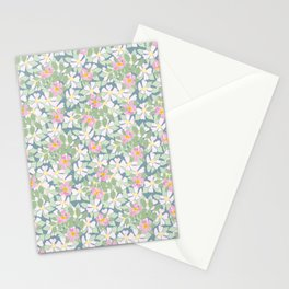 Pink Dogroses on Moody Blue Stationery Cards