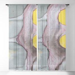 abstract art yellow Sheer Curtain
