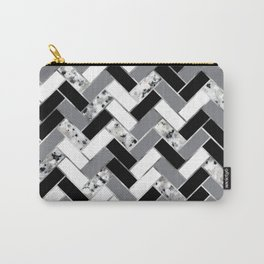 Shuffled Marble Herringbone - Black/White/Gray/Silver Carry-All Pouch