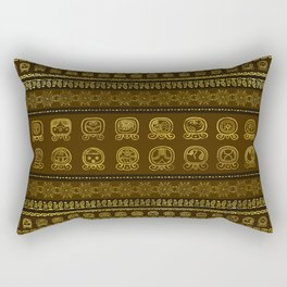 Maya Calendar Glyphs pattern Gold on Brown Rectangular Pillow
