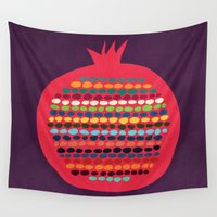 pomegranate Wall Tapestries featuring Pomegranate by Picomodi