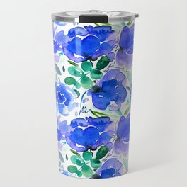 Big Blue Watercolour Painted Floral Pattern Travel Mug