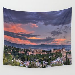 The Alhambra Palace and Albaicin. Granada. Spain at sunset Wall Tapestry