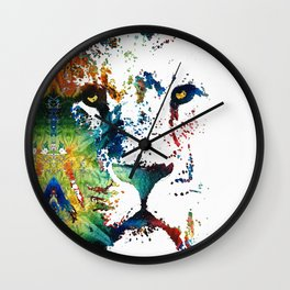 Colorful Lion Art By Sharon Cummings Wall Clock