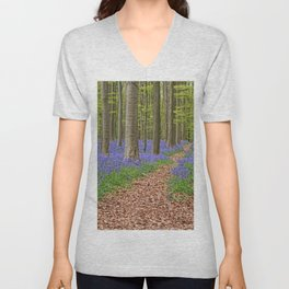 The Way Back Home - Bluebell Forest Trail Landscape Unisex V-Neck