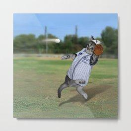 Baseball Catcher Kitten Metal Print