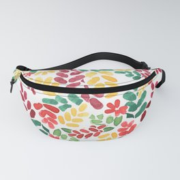 Leafy colorful young energetic floral pattern design Fanny Pack