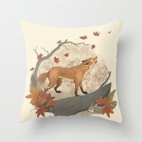 rabbit Throw Pillows featuring Fox and rabbit by Laura Graves