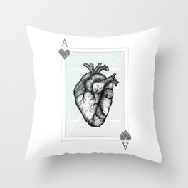 Ace Of Hearts - Mint Throw Pillow