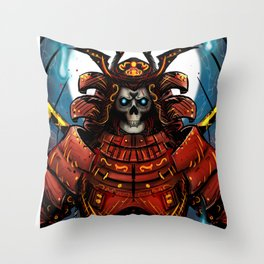 Skull Samurai Throw Pillow