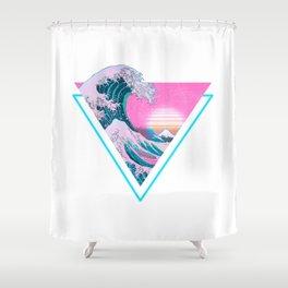 Vaporwave Aesthetic 90's Great Wave Off Kanagawa Shower Curtain