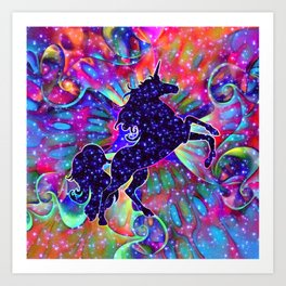UNICORN OF THE UNIVERSE multicolored Art Print