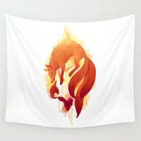 freeminds Wall Tapestries featuring Fire Fox by Freeminds