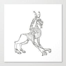 Wendigo Crouching Doodle Art Canvas Print