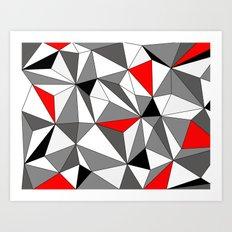 Geo - red, gray, black and white Art Print