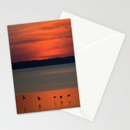 A flock of geese flying north across the calm evening waters of the bay Stationery Cards