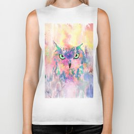 Watercolor eagle owl abstract paint Biker Tank