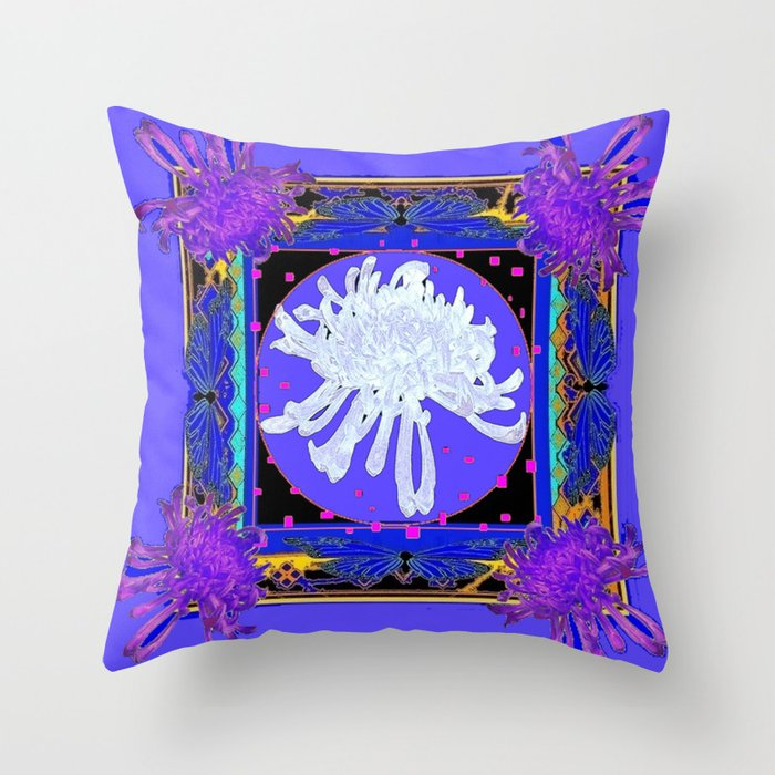 White & Purple Spider Mums Blue Abstract Throw Pillow