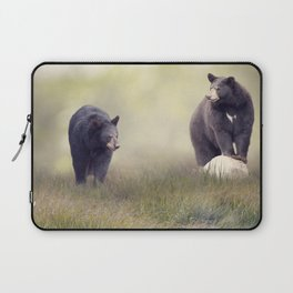 Two Black bears in the grass near water Laptop Sleeve