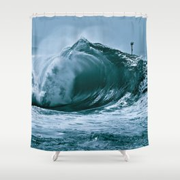 The Wedge Blue Barrel  Shower Curtain