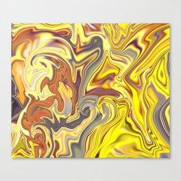 Wild Yellow Madness Liquid Marble Canvas Print