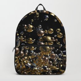Elegant Abstract Geometry Explosion -Gold and Silver,Black- Backpack