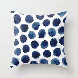 Watercolor polka dots Throw Pillow