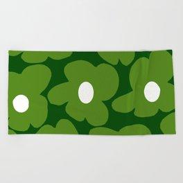 Spring Green Retro Flowers Dark Green Background #decor #society6 #buyart Beach Towel