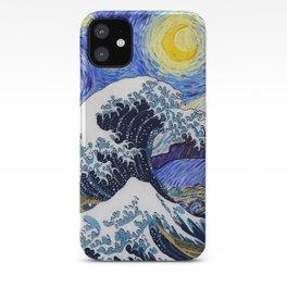 "Hokusai,""The Great Wave off Kanagawa"" + van Gogh,""Starry night"" iPhone Case"