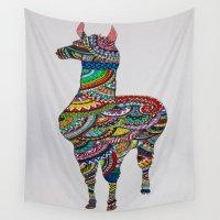 llama Wall Tapestries featuring Llama Loud, Llama Proud by Caballos of Colour
