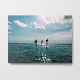 Play on the Blue Beach Metal Print