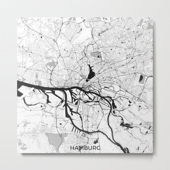 Hamburg City Map Gray Metal Print