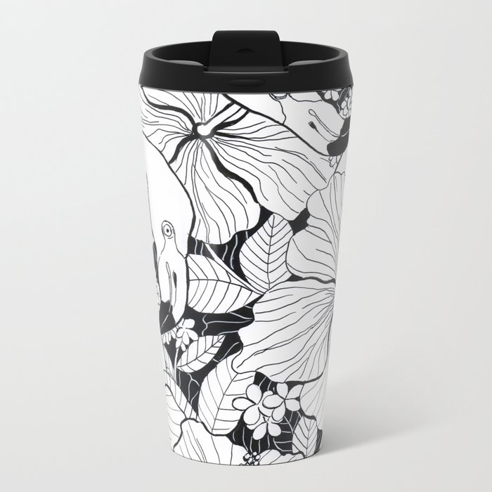 Flamingo garden Metal Travel Mug
