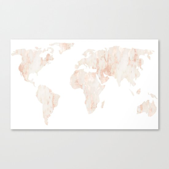 Marble World Map Light Pink Rose Gold Shimmer Canvas Print