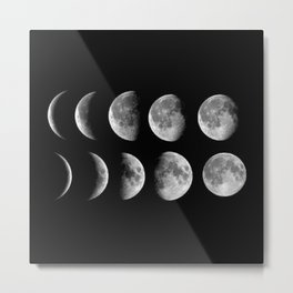 Phases (black) Metal Print