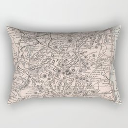 Vintage Map of The Adirondack Mountains (1901) Rectangular Pillow