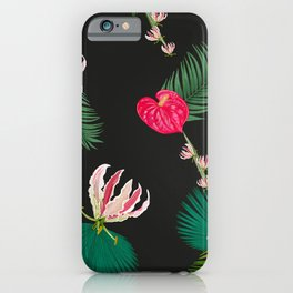 Hand Drawn Anthurium and Tropical Pink Flowers With Palm Leaves Pattern iPhone Case