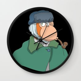 Monkey coat cigar fur hat bandage ear Wall Clock