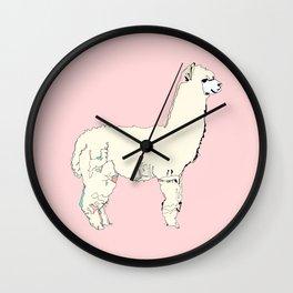 Pink Alpaca Wall Clock