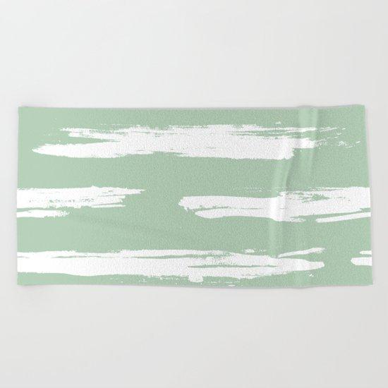 Swipe Stripe White on Pastel Cactus Green Beach Towel