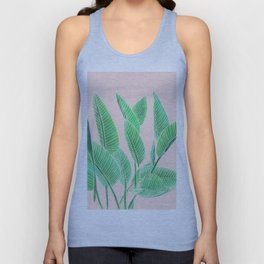Modern pink tropical green watercolor hand painted leaf pattern Unisex Tank Top