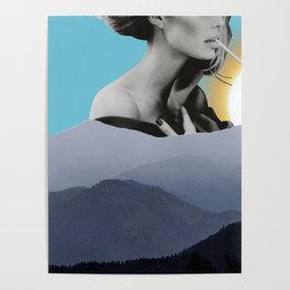 Over The Mountains - Smoking Woman Poster