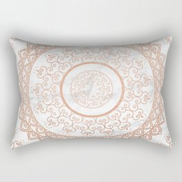 Mandala - rose gold and white marble Rectangular Pillow