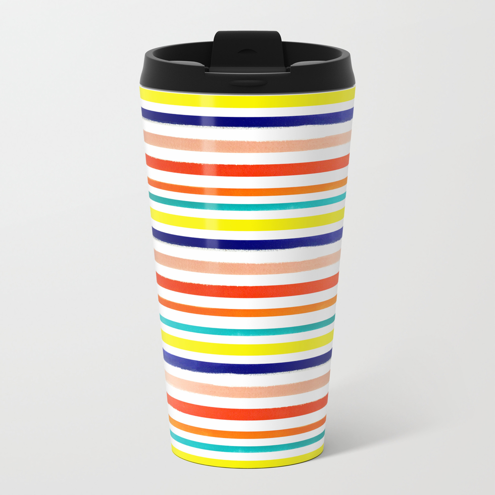 Bright Watercolor Rainbow Stripes Travel Cup TRM8883680