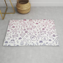 Cute & Sweet Monsters / Funny Clouds and Diamonds Rug