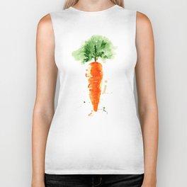 Watercolor orange carrot. Organic vegetable. Original watercolour illustration. Biker Tank