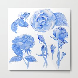 Blue Roses Watercolor Metal Print