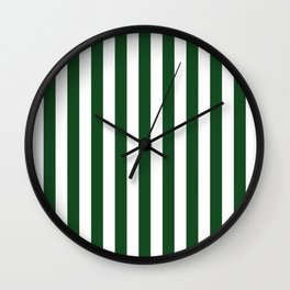Large Forest Green and White Rustic Vertical Beach Stripes Wall Clock