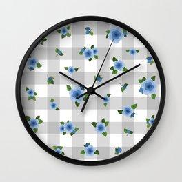 Sweet Blue Roses - grey check Wall Clock